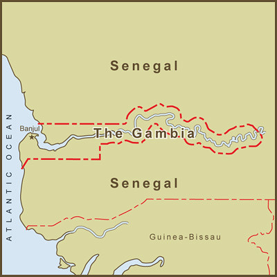 A Map Of Gambias Border As Defined By The Gambia River Flickr - Gambia map