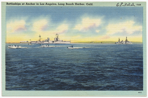 Battleships at Anchor in Los Angeles, Long beach harbor, Calif. | by Boston Public Library