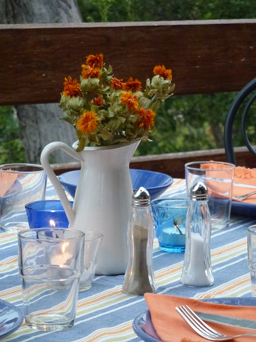 Tablescape in Blue & Orange | by briiblog