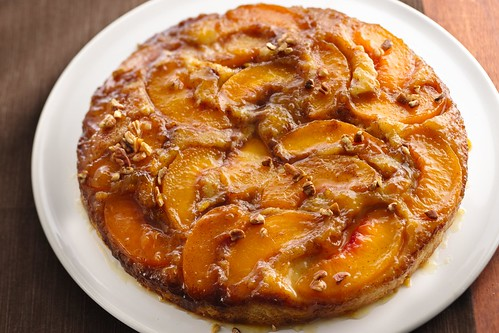 Caramelized peach upside down cake | by cakespy
