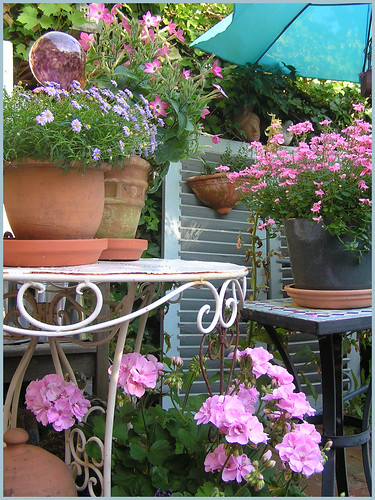Pink and blue Summer patio | by Boxwoodcottage