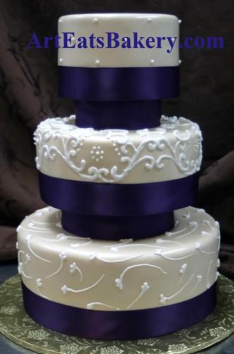 Three Tier Champagne Pearl Fondant Custom Wedding Cake Wit