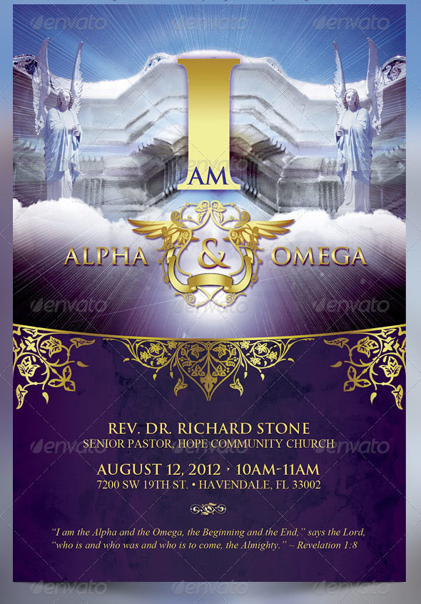 ... I Am Alpha And Omega Church Flyer Template | By Godserv  Christian Flyer Templates