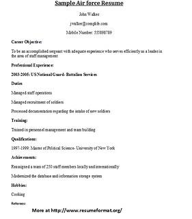 sample air force resume format for various air force resum flickr