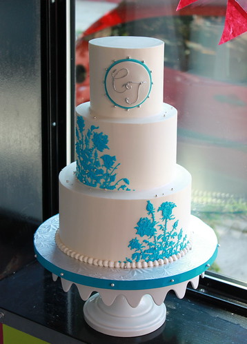 Blue Rose Motif Cake | by Whipped Bakeshop