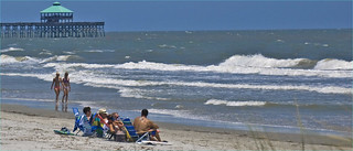 Beach and Fishing Pier -- Folly Beach (SC) July 10, 2012 | by Ron Cogswell