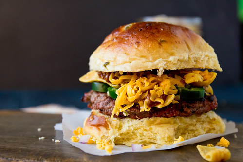 Frito Pie Burger on Jalapeño Cheddar Buns | by TheBrewer&TheBaker
