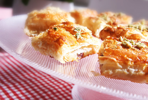 Puff pastry with almonds, cranberries, honey and pistachios. | by victoriaswebs
