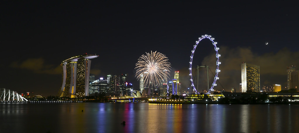 ndp fireworks from gardens by the bay bay east by tay choon guan