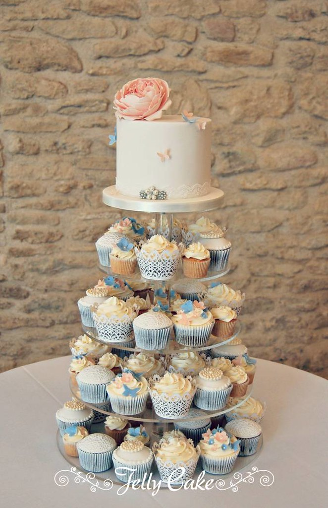 Peach And Blue Wedding Cupcake Tower A Pretty Peach Blue Flickr