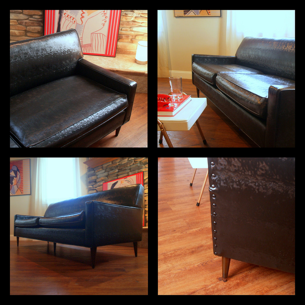 ... VINTAGE MIDCENTURY MODERN Sofa Fabulous Black Faux Leather Retro  Flexsteel 1950u0027s Living Room Mid Century Modern