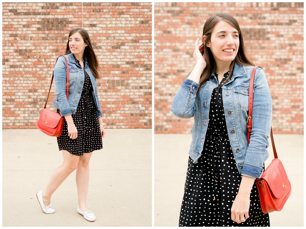 Black polka dot dress denim jean jacket red purse wh flickr easy black polka dot dress denim jean jacket red purse white mocs easy sisterspd