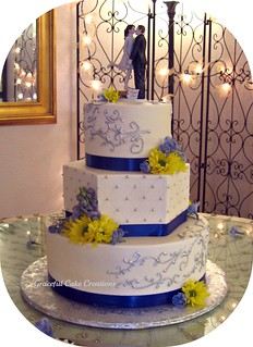 Elegant Ivory Wedding Cake with Blue and Silver Accents | by Graceful Cake Creations