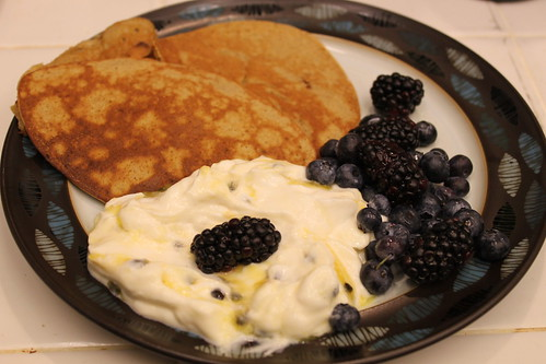 Paleo Pancakes and Greek Yogurt with Berries | by fivebyevif