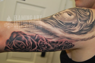 Weeping angel and roses tattoo | by Flaming Art Tattoo