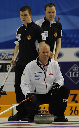 Basel Switzerland.April7-2012.Men's World Curling Championship.Canada skip Glenn Howard.Scotland skip Tom Brewster,3rd.Greg Drummond.CCA/michael burns photo | by seasonofchampions