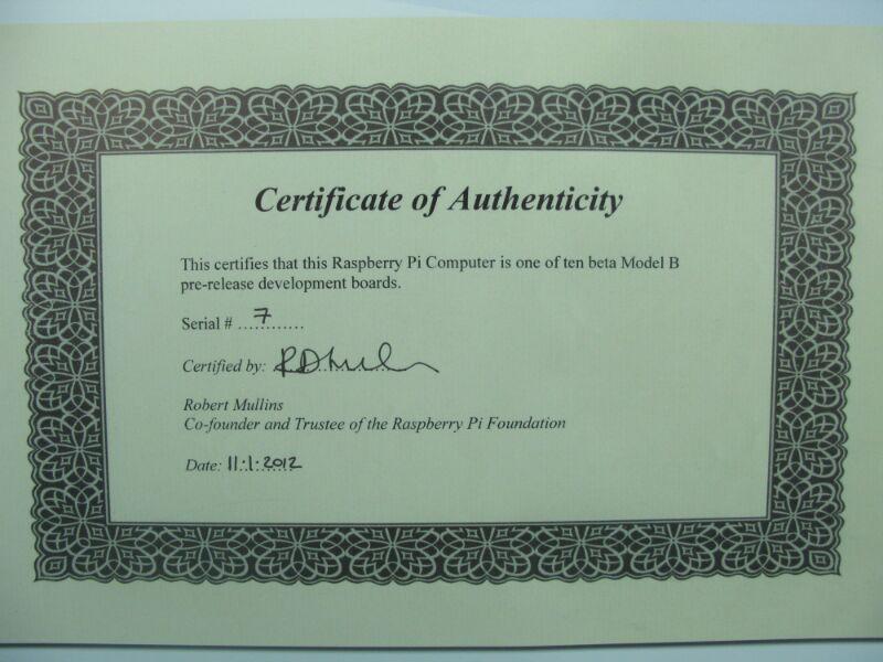 Raspberry Pi 7 Certificate Of Authenticity Trevor Johnson Flickr