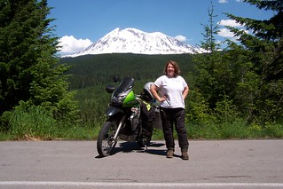 Jayne, her KLR and Mt. Adams | by coyotetrips