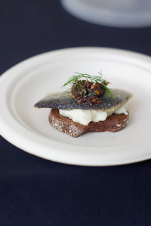 House Marinated Sardines – Burrata, Olives, Orange & Almonds on a Crostino | by molly.mogren