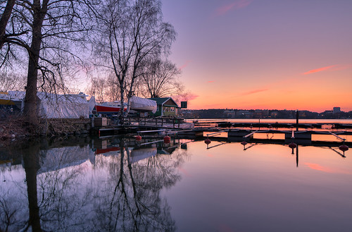 Sunset reflection at the boat club | by Storkholm Photography