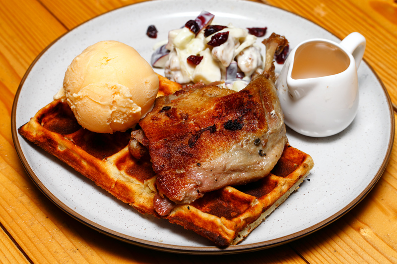 Thirdwave Duck Confit Waffle with Ice Cream