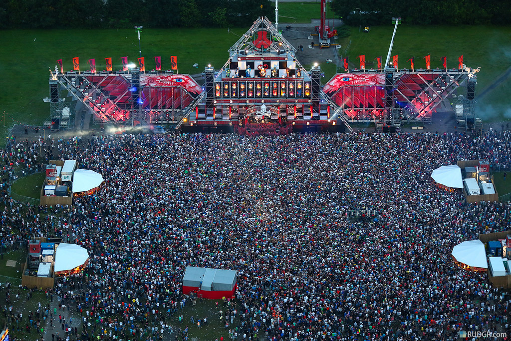 ... Defqon.1 mainstage at dusk from the heli | by Rudgr.com