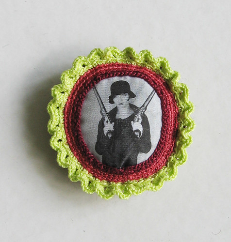 Girl with guns brooch | by pompom design