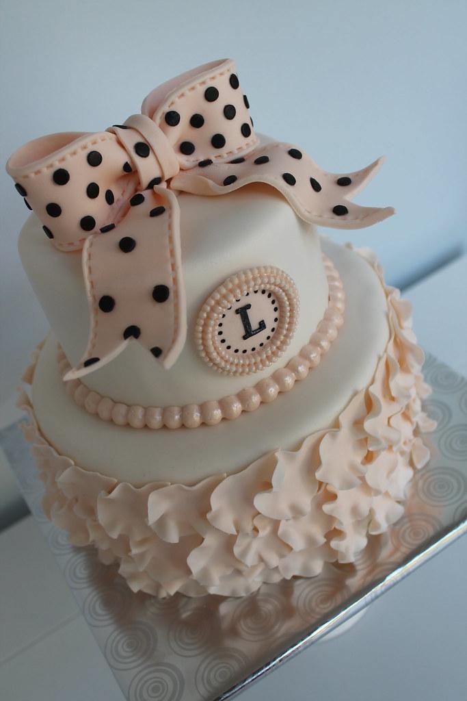 Birthday Cake Linda 2 Tier Birhday Cake With Polkadot Bo Flickr