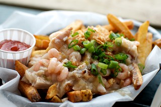 Seafood poutine Red Fish Bue Fish | by phrase!
