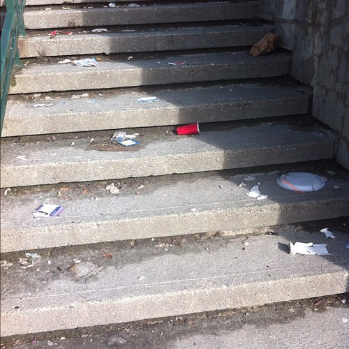 Litter on the stairwell at the George Street amphitheatre. Always disappointing, but usually there, too. | by johngushue