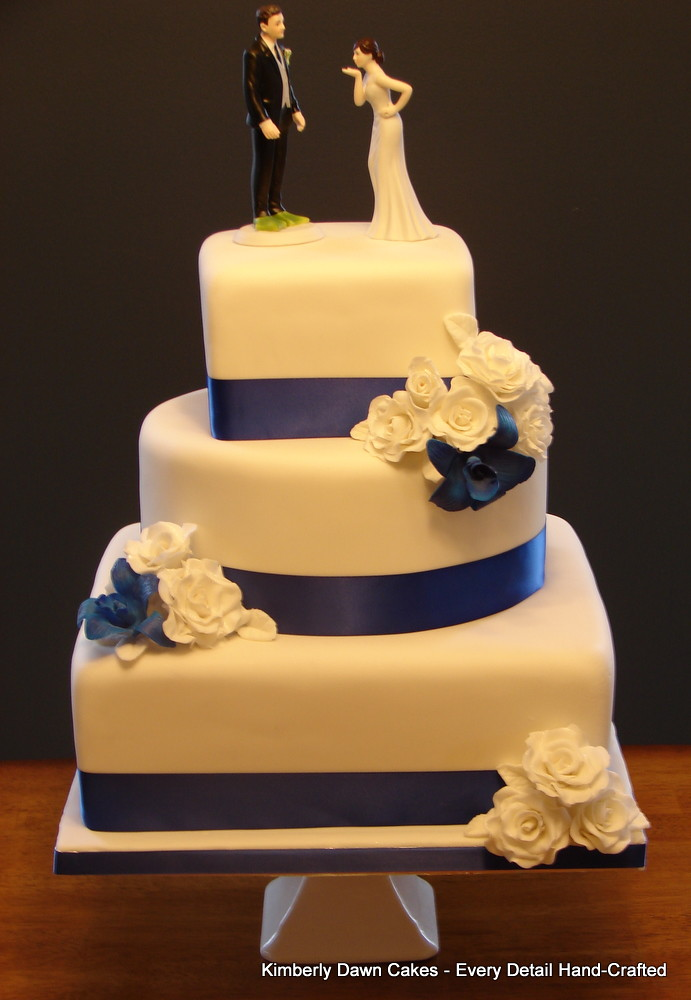 Blue Orchid and White Rose Wedding Cake | Kimberly Dawn Cakes | Flickr