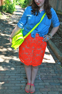 "Neon loves chambray outfit: ""washed chambray buttonup"" from Anthropologie, neon lace pencil skirt, DIY neon necklace, dolce vita sandals, neon satchel, etc. 