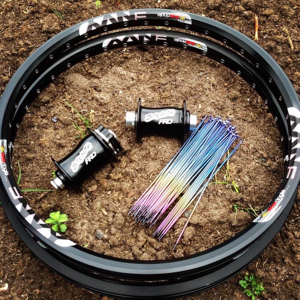 sunringle #envy Black Rims with #rainbow #titanium Spokes