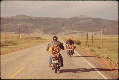 Vacationers on motorcycles, 05/1972. | by The U.S. National Archives