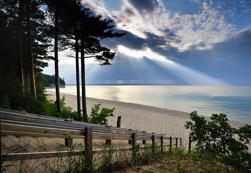 """Crepuscular rays""  Miners beach Pictured Rocks National Lakeshore 