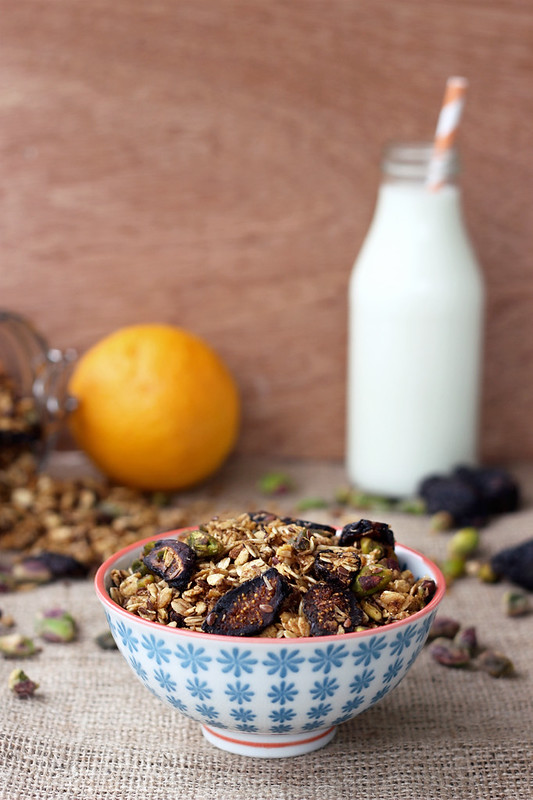 Orange Spice Granola with Black Mission Figs and Pistachios - Gluten-free, Vegan + Refined Sugar-free