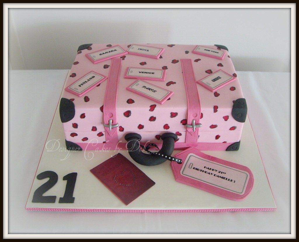 Pink Leopard Print Suitcase Cake | This is a 21st cake for a… | Flickr