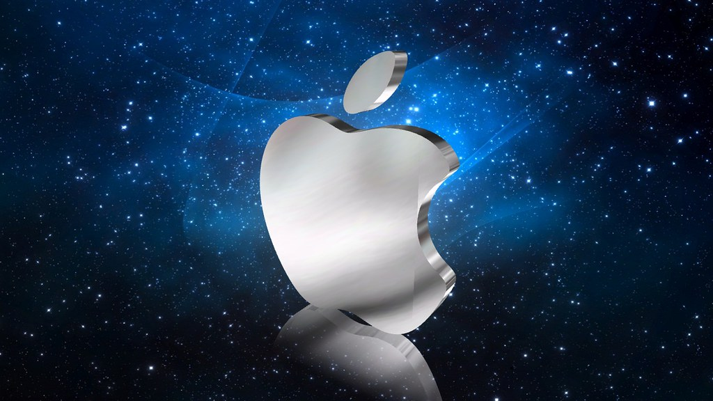 cool apple logos in space. 3d metal effect apple logo | aurora3d by presentation 3d cool logos in space