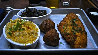 fried catfish with greens, hush puppies, baked mac & cheese at Southpaw in San Francisco | by Fuzzy Traveler