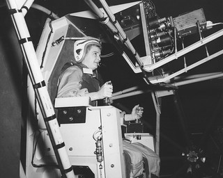 Jerrie Cobb, Lady Pilot, testing Gimbal Rig in AWT | by NASA on The Commons
