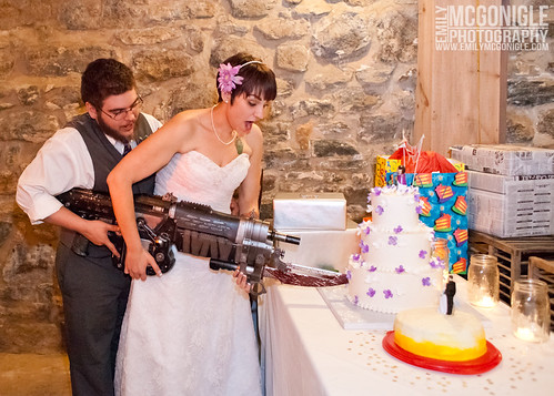 Cutting the cake with a retro lancer. | by undeadcupcake
