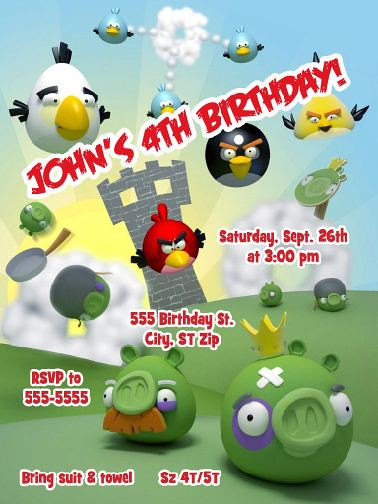 Angry Birds Birthday Invitation Without Photo