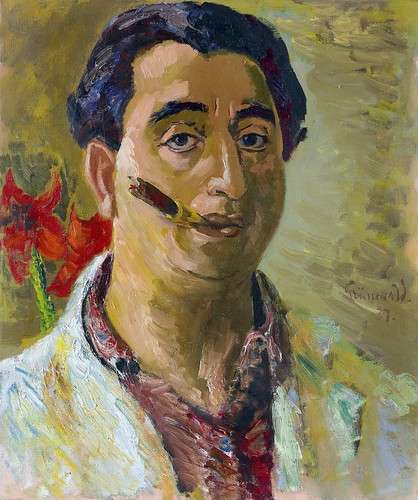 Grunewald, Isaac (1889-1946) - 1937 Self-Portrait with Cigar (Private Collection) | by RasMarley