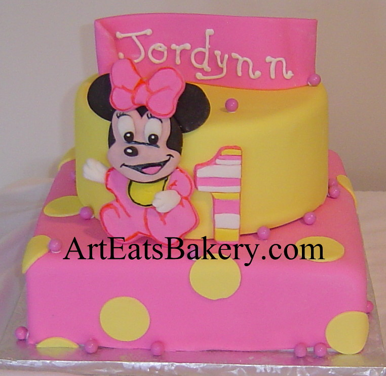 Two tier pink and yellow polka dot fondant baby Minnie Mou Flickr