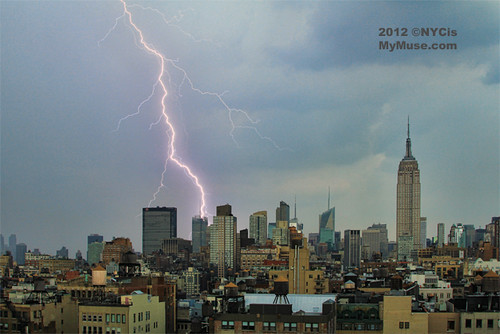Monster Storm! Huge Lightning Flash on midtown NYC skyline behind NY Times | by NYCisMyMuse