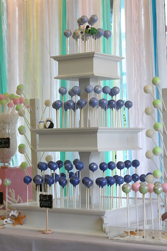 Three Tier Stand with Seashell Cake Pops | by Sweet Lauren Cakes