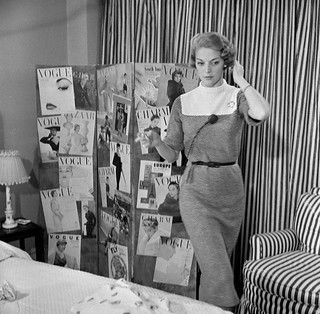 "Jean Patchett being photographed and interviewed at home for the TV show ""Person to Person"", New York, January 28, 1955 