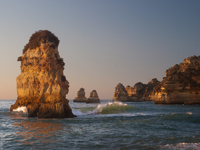 Sunrise on Atlantic coast in Lagos, Portugal