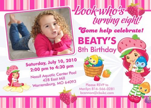 Strawberry Shortcakes Custom Birthday Invitation