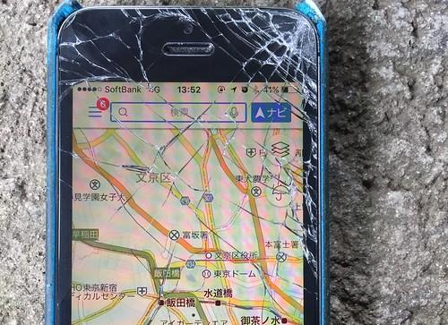 iPhone 5s 落下で画面が割れる 2016.6.15